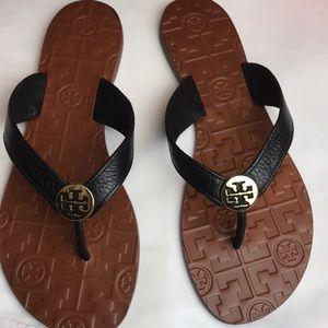 Tory Burch black leather flip flop sandals